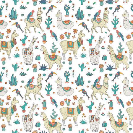 Llamas and Cacti seamless pattern 일러스트