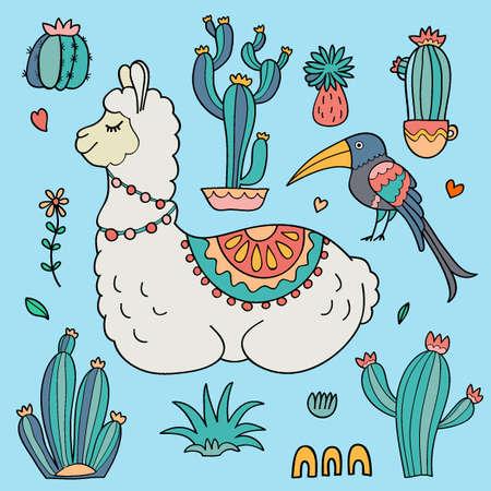 Llama Alpaca, cacti and bird 일러스트