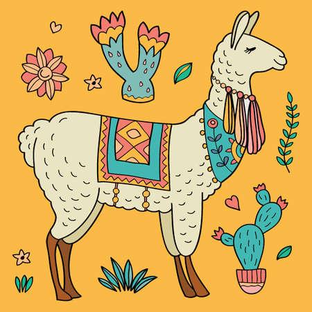 Cute LLama and cacti