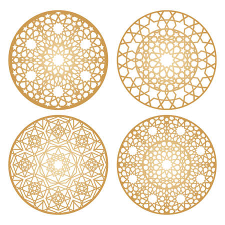 Set of raditional arabic decorative round patterns Stock fotó - 155843402