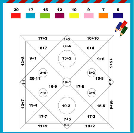 Color by numbers drawing pattern abstraction - addition and subtraction of a sheet for training