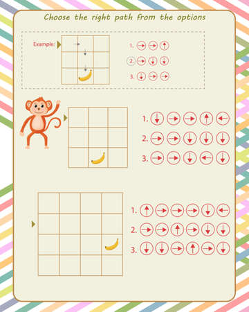 Logic game for children. find the correct path according to the arrows Vektorgrafik