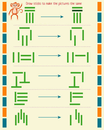 logic game for children. draw the sticks to make the pictures the same Vectores