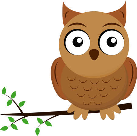 owl on a white background sits on the branch of tree