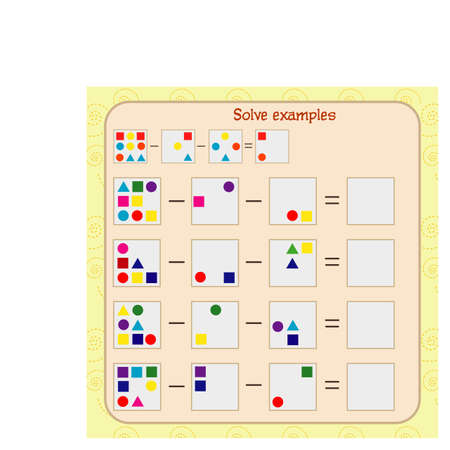 Logic exercises for children. solve examples according to the model Illustration