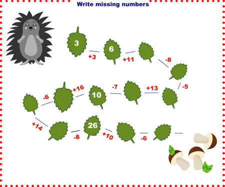 Math educational games for children. Fill in the line, write the missing numbers. mathematical activity