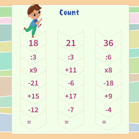 Math game for children. count the chain of actions and write down the result