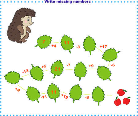 Math educational games for children. Fill in the line, write the missing numbers.