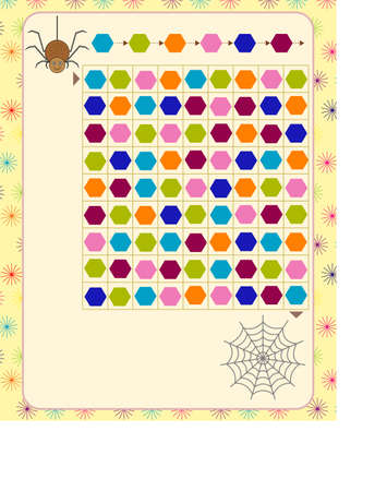 logic game for children. guide the spider to the web along the path indicated in the sample