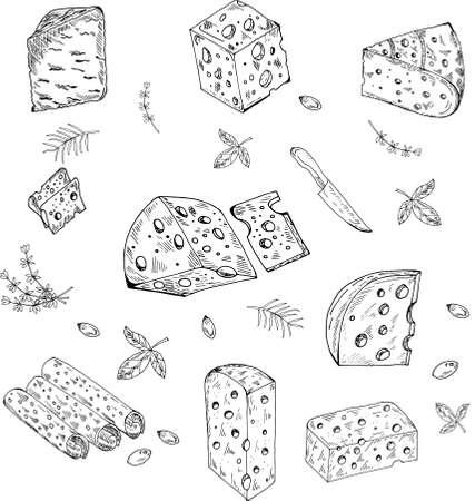 Cheese organic milk butter fresh food vector hand drawn illustration set, menu label, banner poster identity, branding. Illusztráció