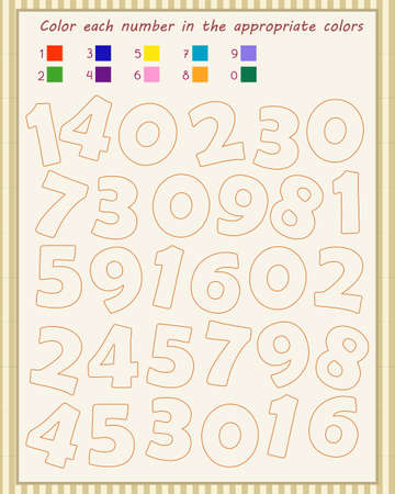 A game for children. We consolidate knowledge of numbers. fill in the numbers according to the sample