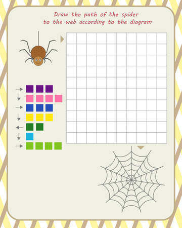 logic game for children. draw the path of the spider to the web according to the diagram Vectores