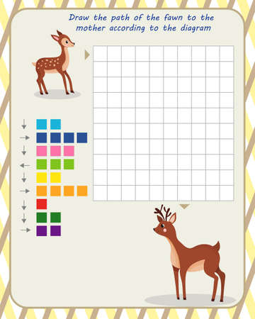 logic game for children. draw the path of the fawn to the mother according to the scheme