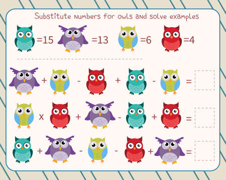 Math game for children substitute numbers instead of owls, solve an example and write down the answer