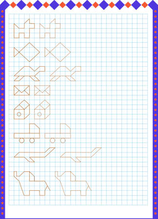 Handwriting practice sheet. Educational children game, printable worksheet for kids. Tracing lines.
