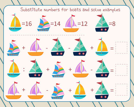 Math game for children substitute numbers instead of boats, solve an example and write down the answer