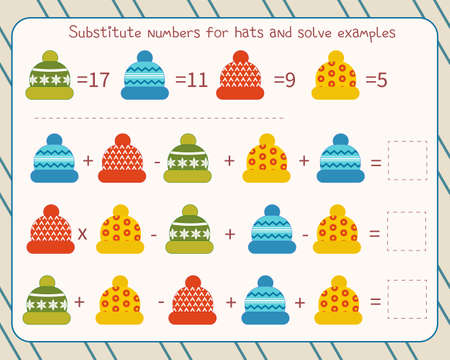 Math game for children substitute numbers instead of hats, solve an example and write down the answer