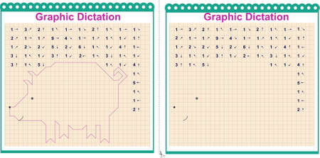 Draw a picture on the arrows. Cartoon graphic pig. Worksheet for children