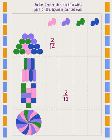 Math worksheet for kids. Write down with a fraction what part of the figure is painted over 向量圖像