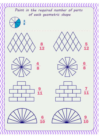 Worksheet for children. Fractions. Paint in the required number of parts of each geometric shape
