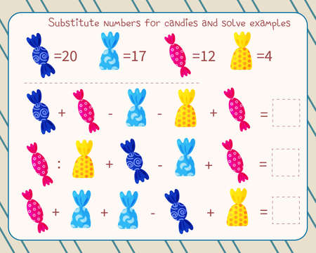 Math game for kids replace candies with numbers, solve an example and write down the answer 向量圖像