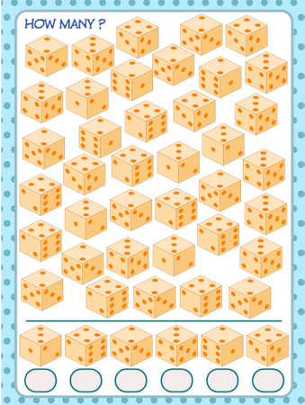 A game for children. count how many cubes. development of attention