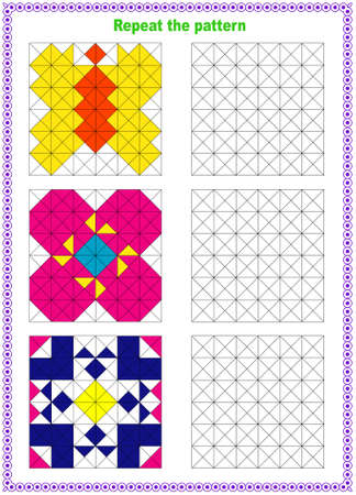Fill out the template. Copy the picture. Printed sheet. Pixel graphics. Education is a logical game for preschool children.