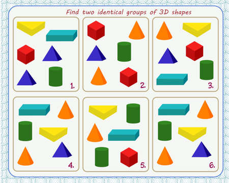 A game for children. Development of attention. Find two identical groups of 3-D shapes