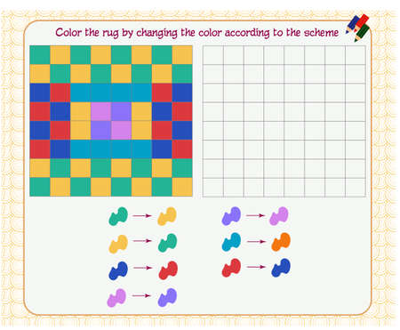 Game for the development of logical thinking. Color the rug by changing the color according to the sample