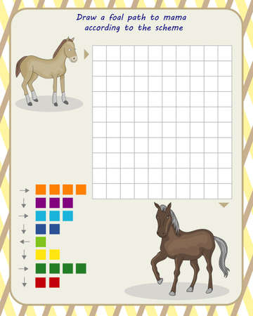 logic game for children. draw the foals path to the mother according to the scheme