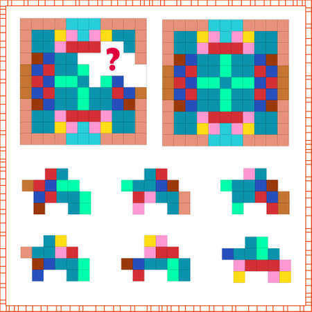 task of logic and attention. for children. find the right part. choose the correct answer. Vector illustration