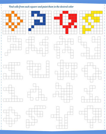 Logic game for children. Find the cells from each square and paint them in the same color. Vector illustration