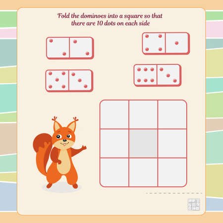 A game for the development of logic and thinking. Fold the dominoes into a square so that there are 10 dots on each side. Vector illustration Ilustrace