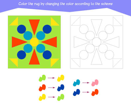 Game for the development of logical thinking. Color the rug by changing the color according to the sample. Vector illustration