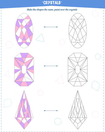 Coloring book to develop attention, spatial and motor skills. The task to color the crystals according to the sample Vektorgrafik