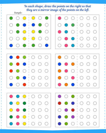 Logic game for children. Tutorial: In each pattern, color the dots on the right to mirror the dots on the left. Vector illustration