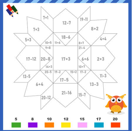 Mathematical coloring for addition and subtraction. Abstract geometric pattern. You need to solve examples and color the image in the appropriate colors. ... Vector illustration