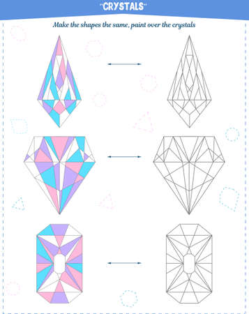 Coloring book to develop attention, spatial and motor skills. The task to color the crystals according to the sample