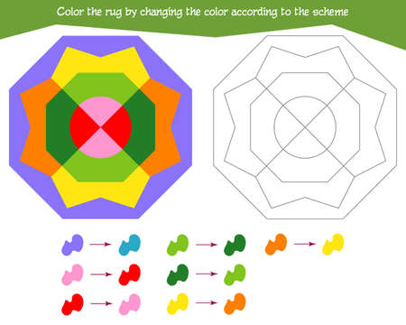 Game for the development of logical thinking. Color the rug by changing the color according to the sample. Vector illustration Vektorgrafik