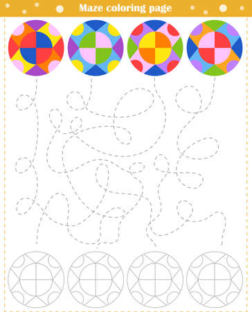 Logic game for children. Go through the maze and color the figure according to the pattern Vektorgrafik
