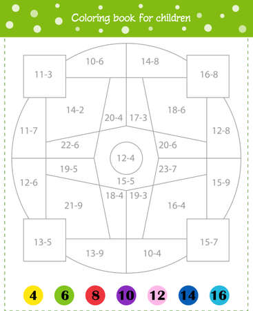 Mathematical coloring book for children. Addition examples. Worksheet