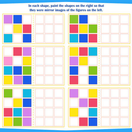 Logic game for children. Tutorial: In each shape, color the shapes on the right in a mirror image of the shapes on the left Vector illustration