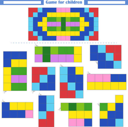 Logic game. Development of spatial thinking. Cut out fragments and assemble a rectangle according to the pattern. Vector illustration Vektorgrafik