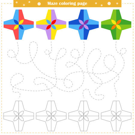 Logic game for children. Go through the maze and color the figure according to the pattern. Vector illustration