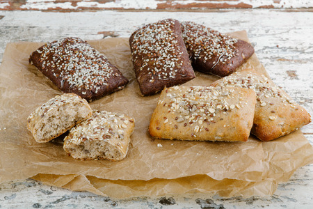 crusted: variety of small breads with seeds Stock Photo