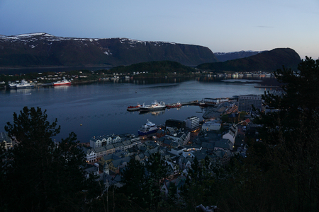 View of Alesund from mount Aksla, Norway at night Stock Photo