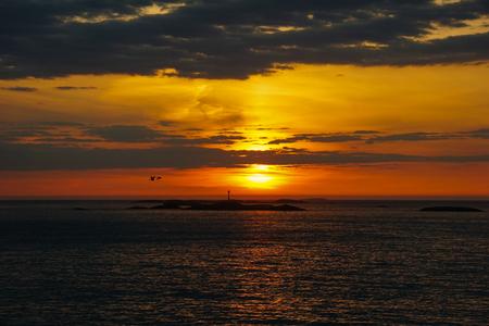 Colorful beautiful sunset at Atlantic Ocean in Norway