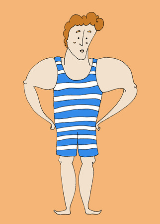 bathing suit: boy in bathing suit vector illustration Illustration