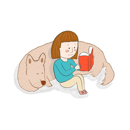 girl reading book: Girl reading a book with her sleeping dog vector illustration