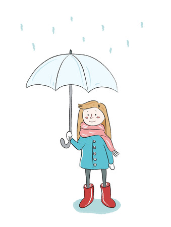 rain coat: Girl in the rain with umbrella, vector illustration
